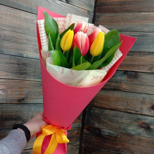 Букет из 5 тюльпанов в ассортименте