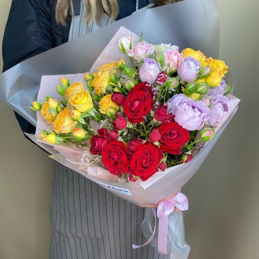 Букет из цветов «Роза Микс»