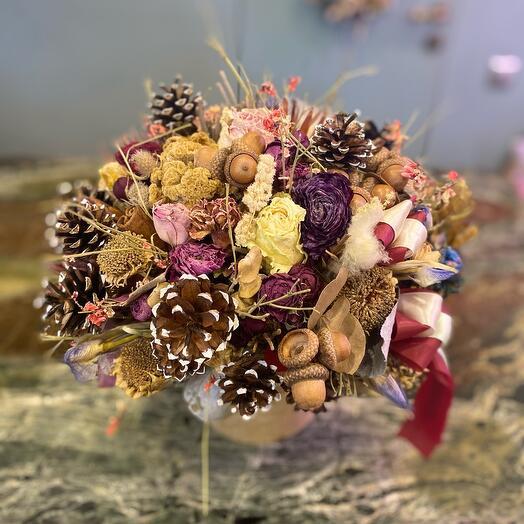 Композиция из сухоцветов в коробке Лесная симфония