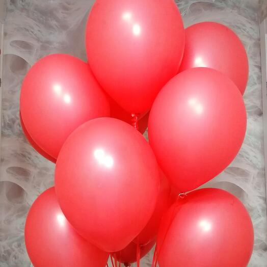 Алые воздушные шары 10 штук