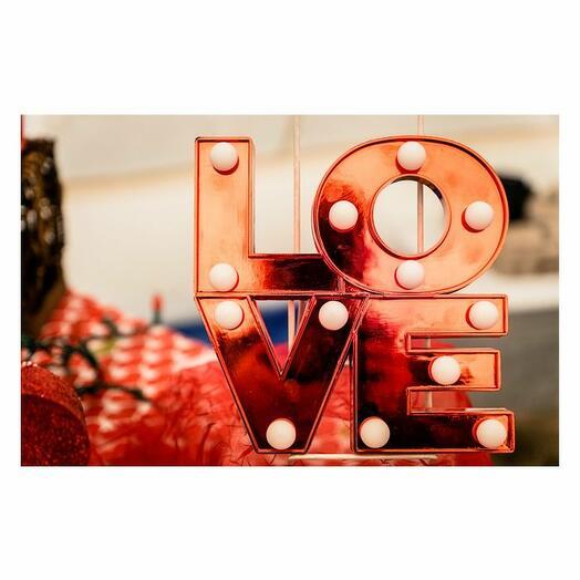 Открытка почтовая Love, red