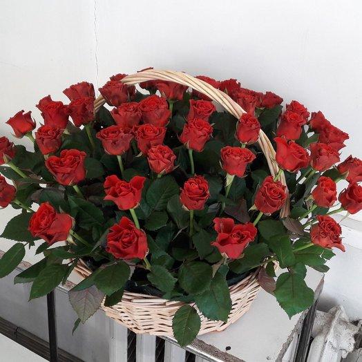 59 красных роз в корзине: букеты цветов на заказ Flowwow