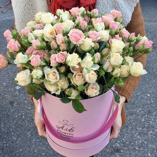 Коробка с кустовой розой: букеты цветов на заказ Flowwow