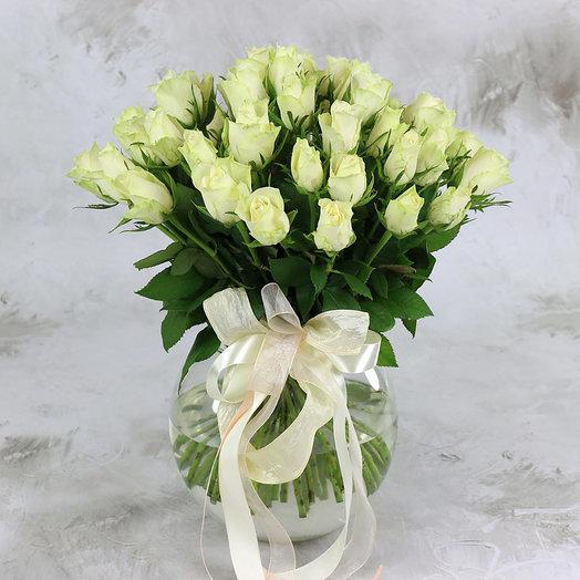 Букет из 51 белой розы 40 см: букеты цветов на заказ Flowwow
