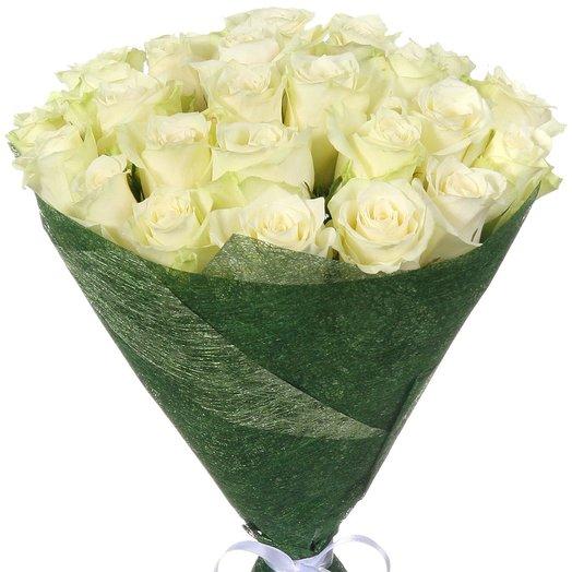 """25 белых роз """"Атена"""": букеты цветов на заказ Flowwow"""