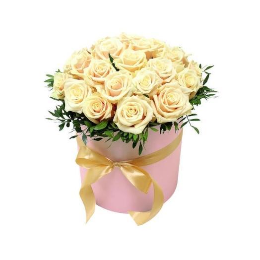 21 кремовая роза в круглой коробке