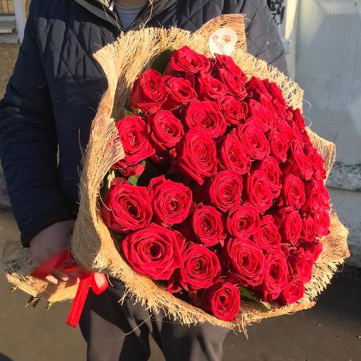 51 красная роза 70см