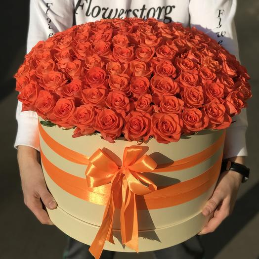 Коробка XXL из 101 оранжевой розы. N246