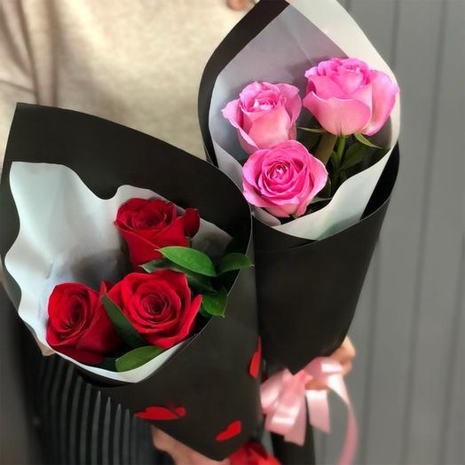 🌹Букет из 3-х роз в черном крафте🌹