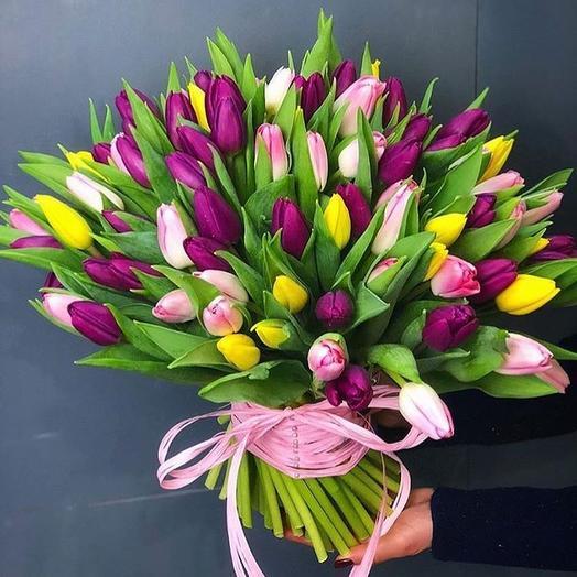 145 тюльпанов микс: букеты цветов на заказ Flowwow