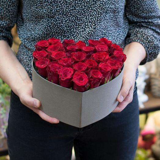 "Коробка с розами ""Сердечко"""