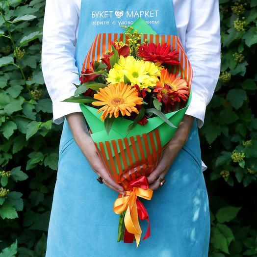 Букет из гербер, хризантемы и альстромерии: букеты цветов на заказ Flowwow