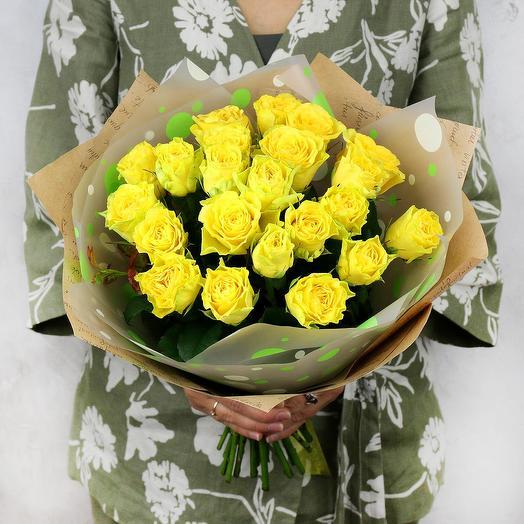 Букет из 21желтой розы: букеты цветов на заказ Flowwow