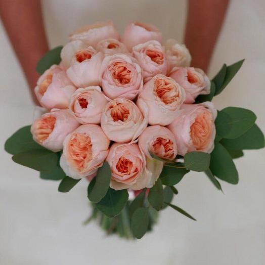 Свадебный букет пионовидных роз 19 шт: букеты цветов на заказ Flowwow