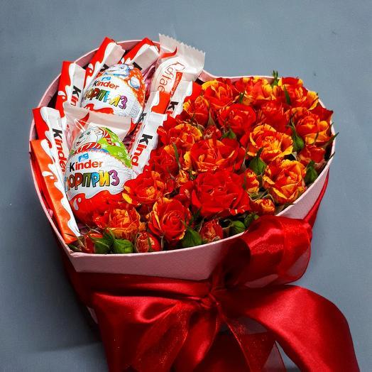 "Большое сердце ""Люблю"": букеты цветов на заказ Flowwow"
