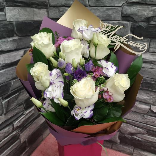 """Букет с белыми розами """"Любимой"""": букеты цветов на заказ Flowwow"""