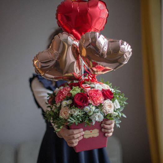 От всего сердца 💕 или цветочная композиция с шариками