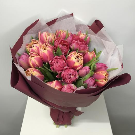 21 пионоидный розовый тюльпан: букеты цветов на заказ Flowwow