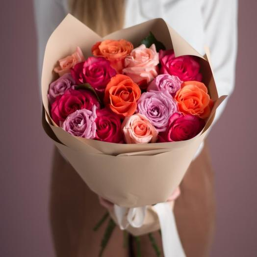 Букет роз микс💜15 шт