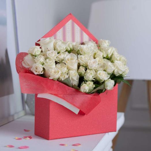 Конверт с белыми розами Премиум