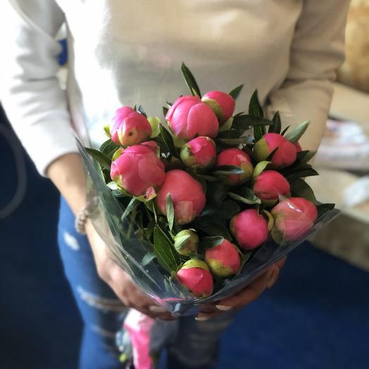Пионы Сара Бернар розовые в крафтовой упаковке 15 Шт: букеты цветов на заказ Flowwow
