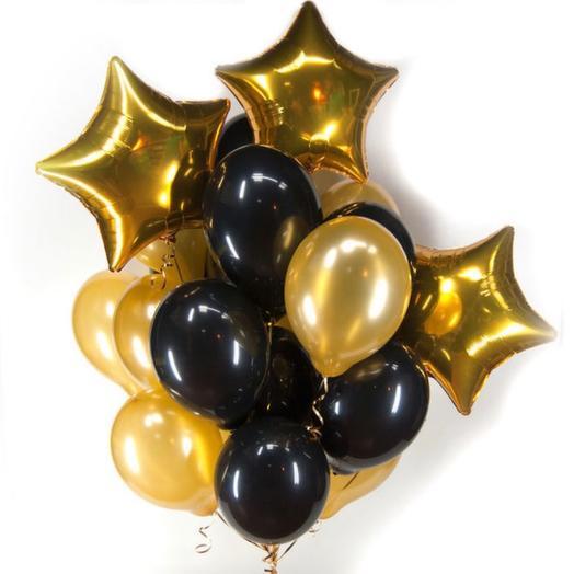 Шары гелиевые черно-золотые