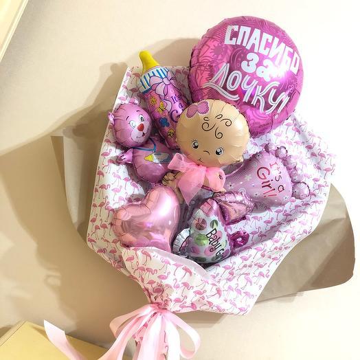 Букет из воздушных шариков на выписку девочки из роддома