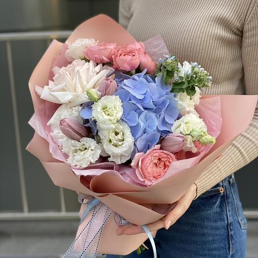 Bouquet of Bush peony roses, eustoma, hydrangea and tulips Strawberry date
