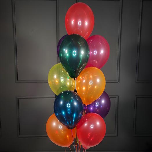 Воздушные разноцветные шарики кристалл 20 шт