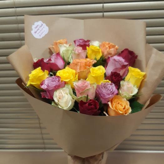 Розовый микс 25 роз