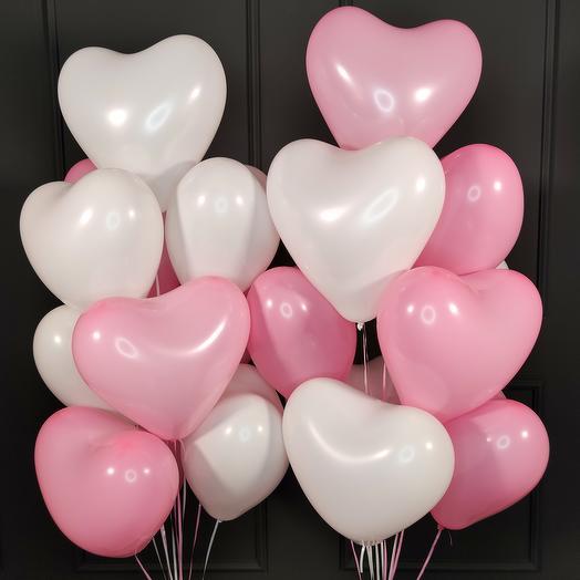 Латексные белые и розовые сердца 25 шт
