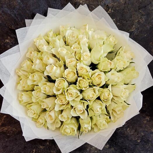 101шт Роза белая