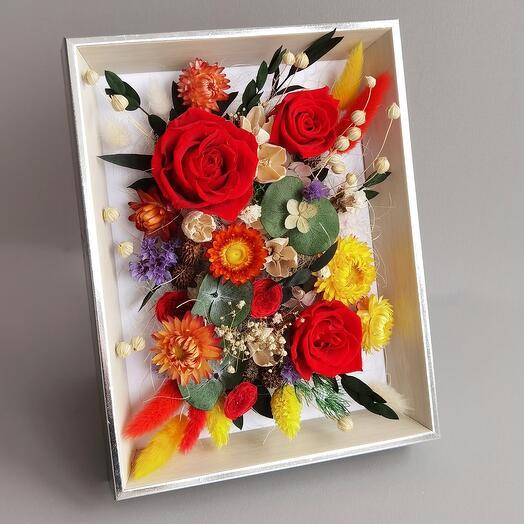 Рамка со стабилизированными розами