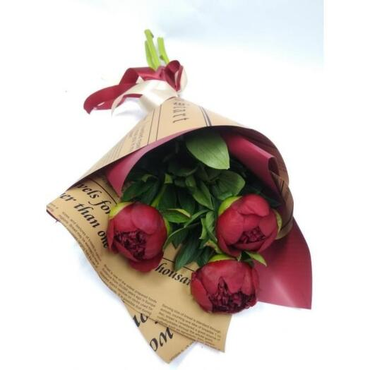 Bouquet of 3 peonies