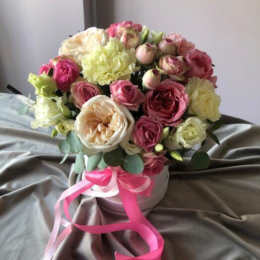 Цветы в коробке «конфетка»