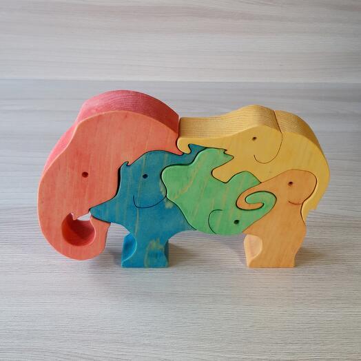 """Деревянный пазл из кедра ручной работы """"Слоны в слоне"""", 5 элементов"""