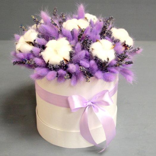 Интерьерная композиция  из сухоцветов с хлопком: букеты цветов на заказ Flowwow