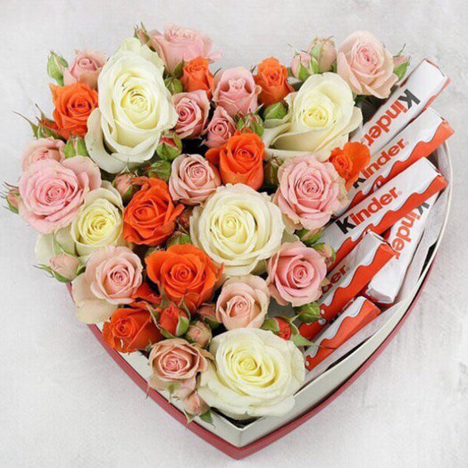 Box with roses and gentle kinder chocolate