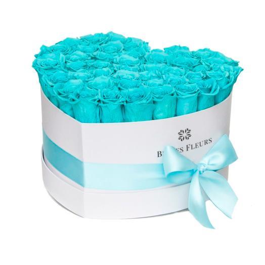Букет вечных роз цвета Tiffany  в шляпной коробке: букеты цветов на заказ Flowwow