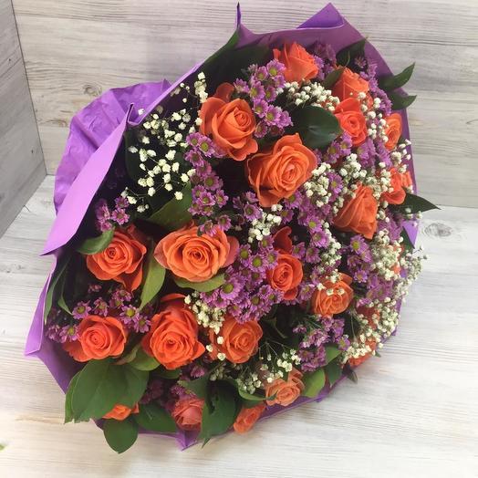 Букет из роз и сантини: букеты цветов на заказ Flowwow