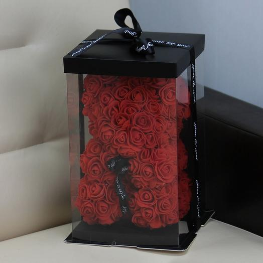 Мишка из роз «Бордо»: букеты цветов на заказ Flowwow