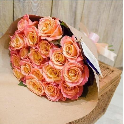 19 персиковых роз в букете: букеты цветов на заказ Flowwow