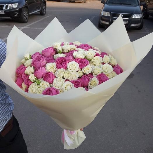 Бело-розовые кустовые: букеты цветов на заказ Flowwow