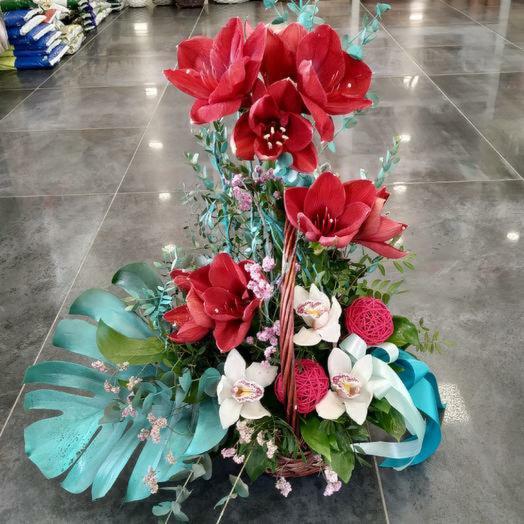 Композиция с амариллисом в корзине: букеты цветов на заказ Flowwow