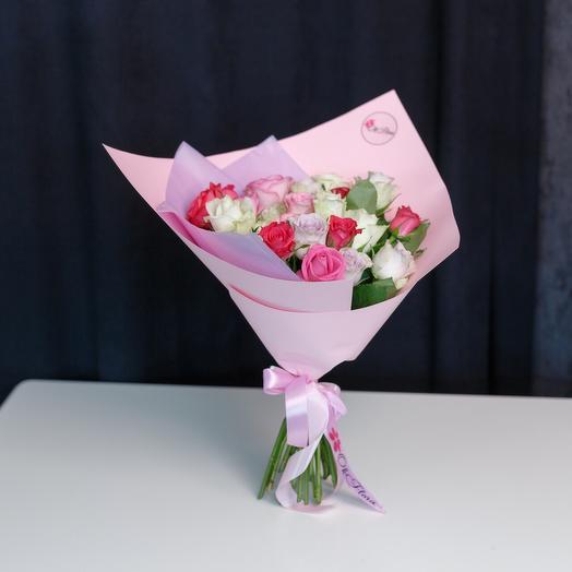 25 разноцветных роз с Премиум доставкой: букеты цветов на заказ Flowwow