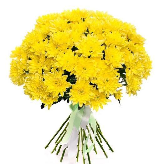Букет из желтых кустовых хризантем: букеты цветов на заказ Flowwow