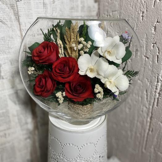 Орхидеи и розы в вазе: букеты цветов на заказ Flowwow