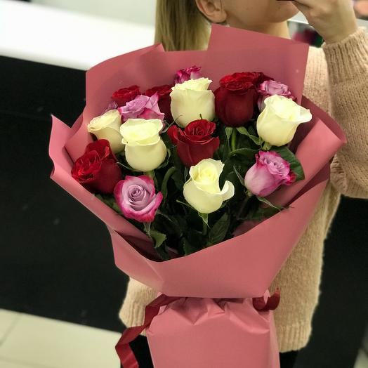 15 роз микс