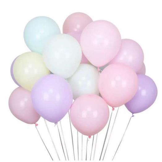 Сет из 15 разноцветных шаров в пастельной гамме
