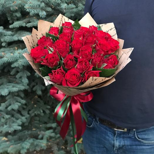 Rosalina - 25 красных роз в оформлении